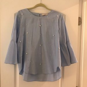 LOFT - Chambray Bell-Sleeves Pearl Detailed Top